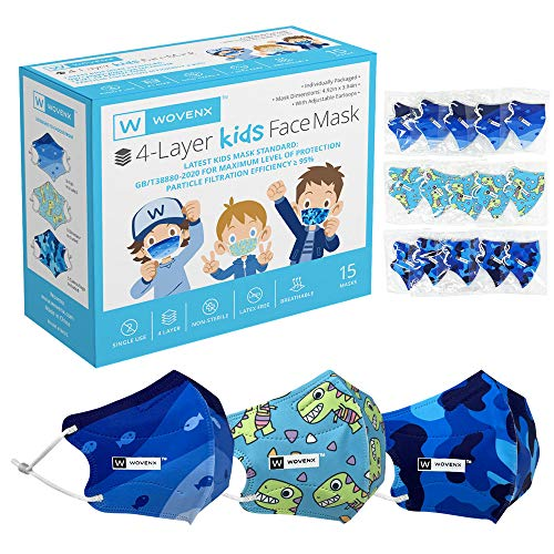 Wovenx - FDA Registered, 4 Ply, Kids Face Masks 15 Pack, With Adjustable Earloops, Individually Packaged, Disposable, (Boys Masks: Dinosaur, Fishes, Camouflage)