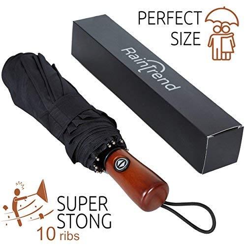 NEW Premium Umbrella Windproof - Large Umbrella Travel - Compact Umbrella Automatic - Travel Umbrella Folding - Portable Umbrella Auto - Oversized Umbrella Black Rain Umbrella - Mens Umbrella Compact