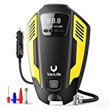 VacLife Air Compressor Tire Inflator, DC 12V Air Pump for Car Tires, Bicycles and Other Inflatables, Auto Portable Air Compressor for Car Tires with LED Light & 11.5 Feet Long Power Cord,Yellow