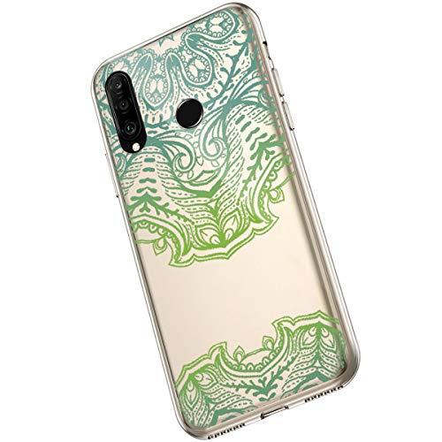 Saceebe Compatible avec Huawei P30 Lite Coque Clair Souple TPU Gel Silicone Mandala Fleur Motif Dessin Antichoc Housse de Protection Souple Mince Léger Case Anti-Rayures,Vert