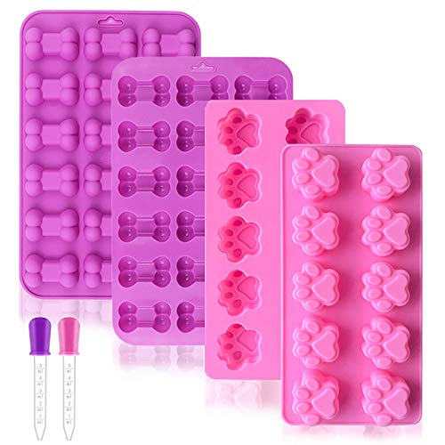 Dog Treat Molds 4 Pack Puppy Dog Paw and Bone Silicone Molds Silicone Baking Mold with 2 Droppers for Puppy Treats Cake Chocolate Jelly Biscuit Candy