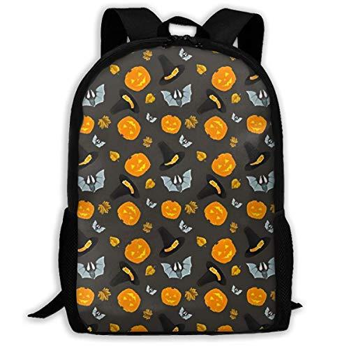 wobuzhidaoshamingzi Schulrucksack Halloween Hut und Fledermaus Kürbis lustige Büchertasche lässige Reisetasche für Teen Boys Girls