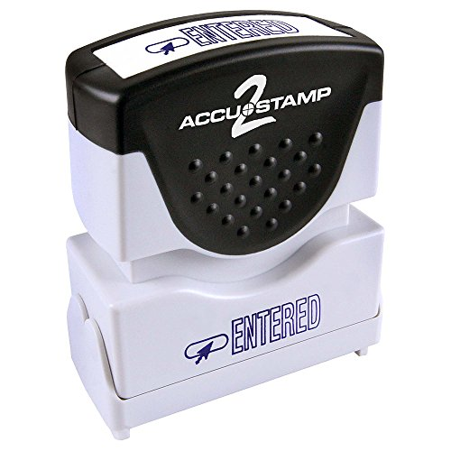 "ACCU-STAMP2 Message Stamp with Shutter, 1-Color, ENTERED, 1-5/8"" x 1/2"" Impression, Pre-Ink, Blue Ink (035573)"