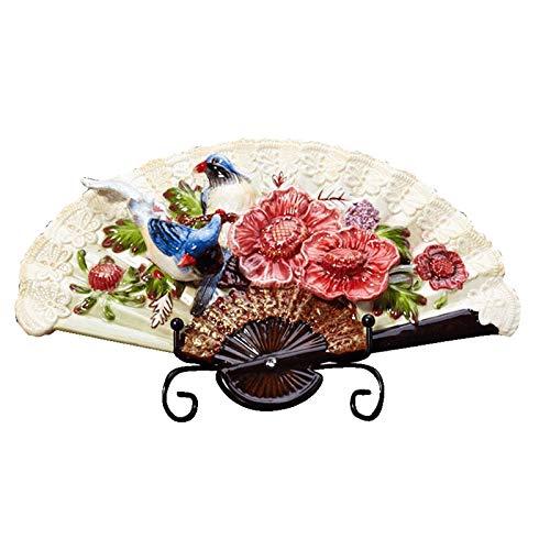 Dinner Plates Estatuillas de estatuilla Adornos de Pared de cerámica con Estante plástico Placas Decorativas de Porcelana Decoración del hogar (31x19.5cm) (Color : A)