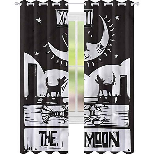jinguizi Cortina de ventana drapeada Luna Lobster Lobos Luna Tarot W52xL72 Cortinas opacas para dormitorio de niños
