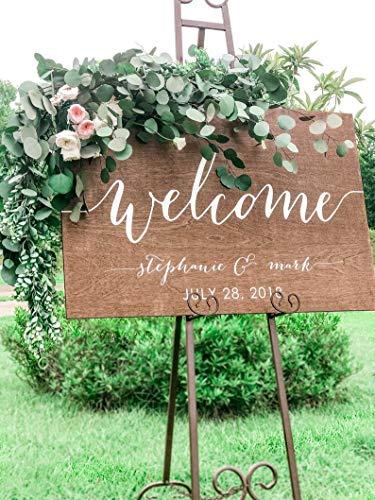 CELYCASY - Cartel de Bienvenida para Boda, Madera, rústico, señal de Bienvenida, señal de Boda Grande, Cena de ensayo, Fiesta de Compromiso, señales de Entrada