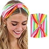 Bomine Boho Criss Cross Stripe Headbands Colorful Head Bands Stretch Causal Hair Bands Fabic Soft Twist Hair Accessories Yoga Fashion Head Wraps Outdoor Hair Scarf Headpieces Sport Headdres for Women and Girls