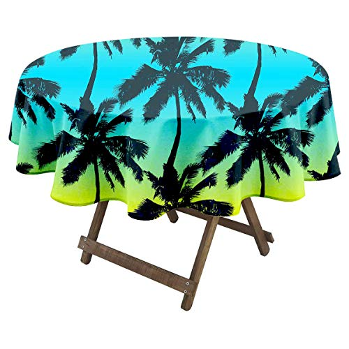 Palm Trees Seamless Pattern on Gradient Background Print for Fabric Wallpaper or giftwrap Vector Illustration_1353387194 Round Tablecloth Room Party Tablecloth Christmas Ideas for Teens 60Inch Round