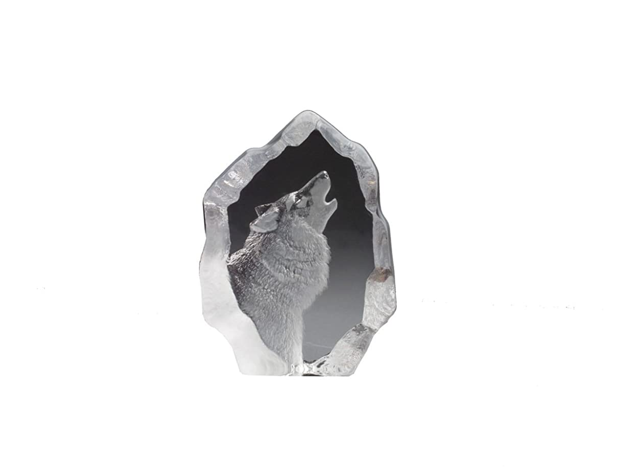 Mats Jonasson 4-1/2-Inch by 3-1/2-Inch Hand-Etched Swedish Crystal Sculpture, Small Wolf