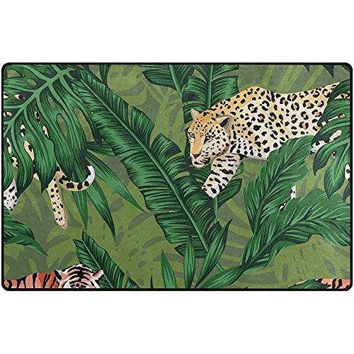 Anna-Shop Animales Salvajes Lindos Tigre Bosque Tropical Área de felpudos Grandes Alfombra Corredor Alfombrilla Alfombra para Entrada Camino Sala de Estar Dormitorio Cocina Oficina 84 x 60 Pulgadas