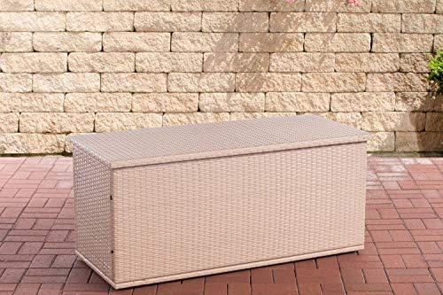 CLP Poly-Rattan Auflagenbox Comfy l Gartentruhe für Kissen und Auflagen l erhältlich, Farbe:Sand, Größe:125