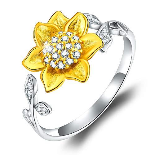 ✦Regalos para Navidad✦Anillo abierto de plata de ley 925 chapado en oro de 18 quilates, diseño de girasol en forma de flor 3D, joyería ajustable para mujeres y niñas
