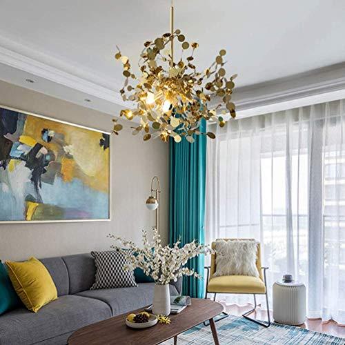 Lámpara colgante LED moderna para comedor, comedor, lámpara de techo de aluminio, lámpara colgante para salón, dormitorio, cafetería, casa rústica, elegante para interiores, decoración (dorada)