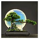 planta artificial con maceta 17 pulgadas Árbol de bonsáis artificiales, ornamentos de falso anillo de luz caliente LED, árbol falso para la pantalla de escritorio de decoración (con cepillo de limpiez
