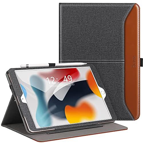 Ztotops Funda para iPad 10.2 2021/2020/2019 (iPad 9ª/8ª/7ª Generación), Carcasa de Cuero con Bolsillo y Soporte, Función de Auto-Sueño/Estela, Múltiples ángulos, Cover para iPad 10.2 - Denim Negro
