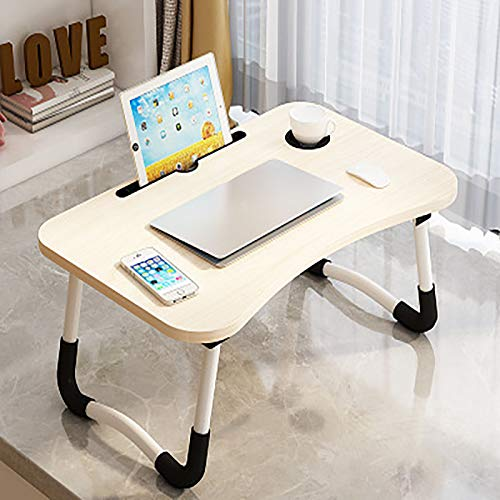 ASLD Laptop Bed Table Lap Standing Desk for Bed and Sofa Breakfast Bed Tray Laptop Lap Desk Folding Coffee Tray Notebook Stand Reading Holder for Couch Floor Kids(60 X 40 maple