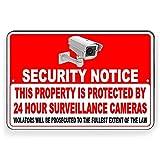 CDYSKJCO Señal de advertencia de metal Señal de seguridad Esta propiedad está protegida por cámaras de videovigilancia 24 horas Violators Will Be Prosecuted for Garage Motel T05 Cartel de metal