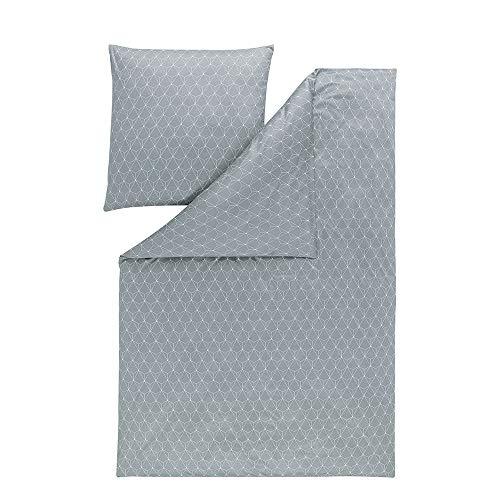 ESTELLA Bettwäsche Tizian | Silber | 135x200 + 80x80 cm | bügelfreie Interlock-Jersey-Qualität | pflegeleicht und trocknerfest | ideale Vier-Jahreszeiten-Bettwäsche | 100% Baumwolle