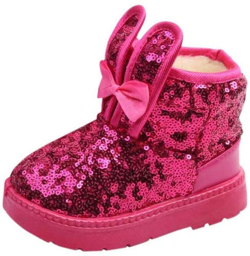 Best Buy! Toddler Snow Boots Little Girls Winter Warm Rabbit Ear Shoes Baby High-Top Rubber Sole Boo...