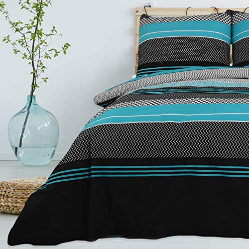 Bettwäsche 3 TLG 200x220 cm Deckenbezug 80x80 cm Kissenbezug 100% Baumwolle Renforce Reißverschluss Bettwäscheset Bettwäschebezug Bettwäscheüberzug, Muster