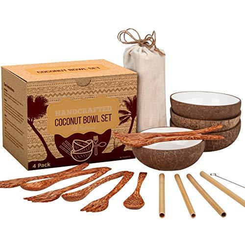 Coconut Bowl Set - 4 Bowls, Spoons, Forks, and Bamboo Straws - 100% Natural, Vegan, Organic,...