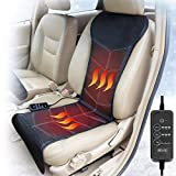 REVIX Heated Seat Cover PU Leather Seat Warmer Cushion with Timer and Hi/Mid/Low Temperature