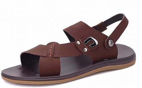 Fuxitoggo Sandales à la Mode Décontracté Pantoufles Douces et Confortables Semelle en Cuir All-Match Sandales pour Hommes (Couleuré   Marron, Taille   37)
