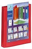 Viquel - Classeur souple en plastique 4 anneaux - Classeur personnalisable dos 3,5cm - Etiquette d'identification - Format A4 - Qualité supérieure - Fabriqué en France - Rouge translucide