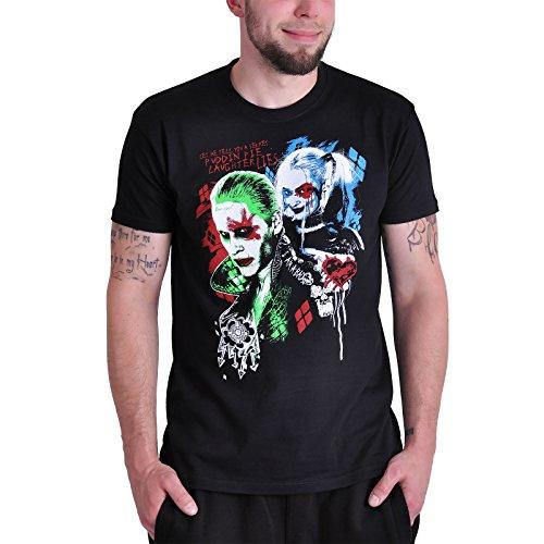 Suicide Squad Harley Quinn und Joker T-Shirt Damen Herren schwarz mit großem Brustprint XXL