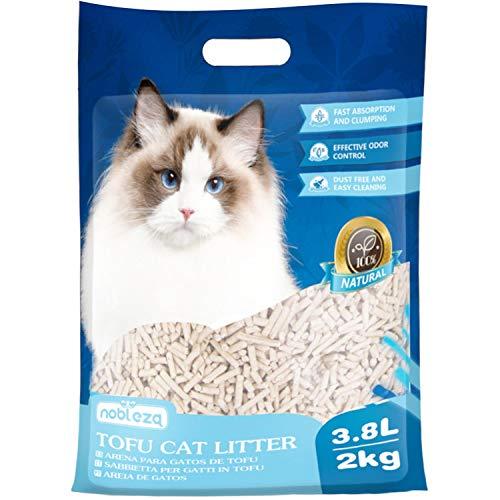 Nobleza Lettiera per Gatti 3.8 Litri~2 kg, Sabbia Lettiera Gatto Agglomerante Biodegradabile e Vegetale, Extra Assorbente, Esente da polveri Dannose, Antiodore
