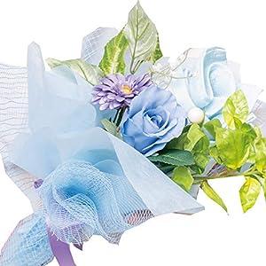 ユメギフト 泉州タオルフラワー 花束 M ハンドタオル タオルハンカチ ハンドメイド 日本製 選べる4色 (ブルー)