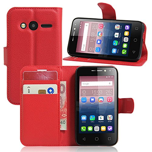 Tasche für Alcatel Pixi 4 (4.0 zoll) Hülle, Ycloud PU Ledertasche Flip Cover Wallet Case Handyhülle mit Stand Function Credit Card Slots Bookstyle Purse Design rote