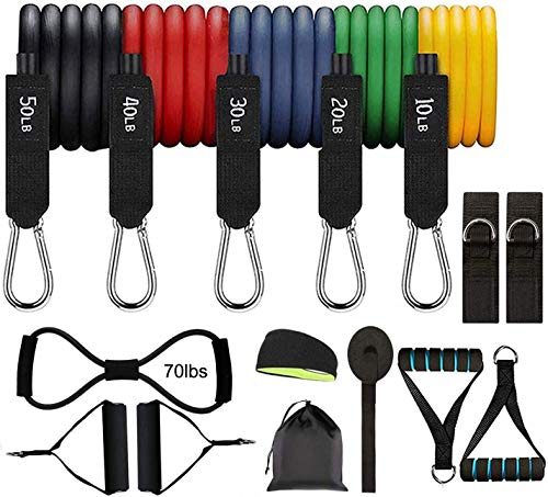 Voniry Exercise Resistance Bands Set Stackable up to 150 lbs Workout Resistance Tubes for Indoor and Outdoor Sports Resistance Bands&Figure 8 Exercise Cords&A Gift Anti-Sweat Sport Headbands
