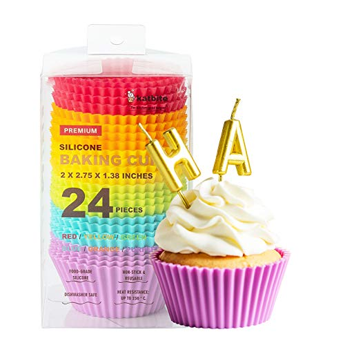Katbite Silicone Cupcake Baking Cups 24 Pack, Heavy Duty Silicone Baking Cups, Reusable & Non-stick Muffin Cupcake Liners for Party Halloween Christmas
