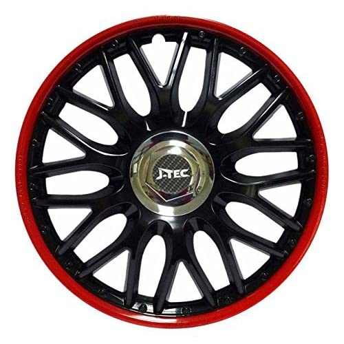 Hubcaps Wheel Trims Set of 4 Orden Red Black (14 inch)