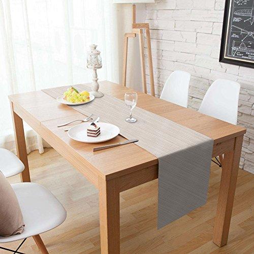 Homcomodar Tischläufer Waschbar Hitzebeständig PVC Esstisch Läufer 30x180cm(Beige)