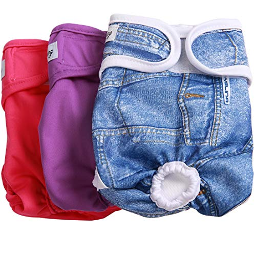 JoyDaog 3 Pack Small Dog Diapers for Female Washable Premium Dog Wrap M