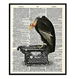 Goth Gothic Home Decor, Wall Art - Creepy Vulture, Buzzard on Typewriter for Living Room, Bedroom, Bathroom, Kitchen - Vintage Decoration or Gift for Writer, Literature Fan- 8x10 UNFRAMED Poster