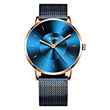 DOM Watch for Men,Classics Minimalist Ultra-Thin Wrist Watch Waterproof-Fashion Analog Quartz Watches with Adjustable Stainless Steel Mesh Band