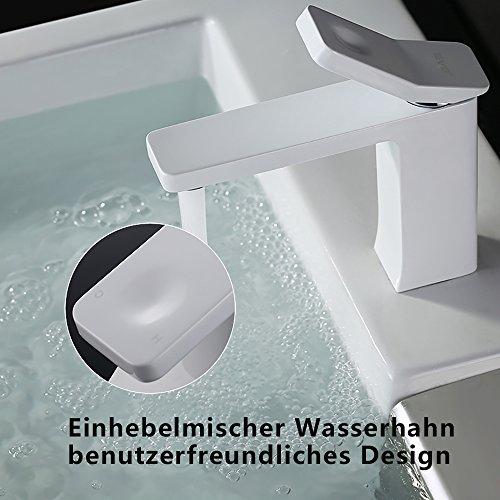 Homelody – Design-Waschbeckenarmatur, Einhebelmischer, ohne Ablaufgarnitur, Weiß - 4