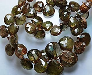 GemAbyss Beads Gemstone 7.5 Inch Strand,Superb-Finest Quality,Natural Andalusite Faceted Large Heart Briolette 13-8mm Code-MVG-51993