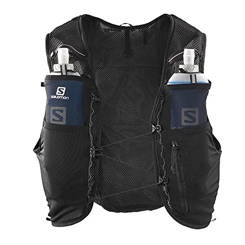 Salomon ADV Hydra Vest 4 Chaleco de hidratación 4L, 2 Botellas SoftFlask 500 ml Incluidas, Unisex-Adult, Negro, L