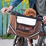 QNMM Fahrradträger, Hundefahrradträger mit kleinen Taschen, Fahrradlenker Kleiner Gepäckträger mit Schultergurt, 38x27x26cm, Braun