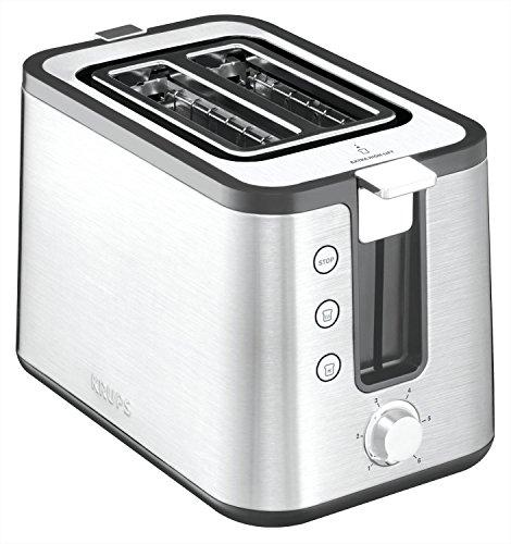 Krups KH442D Control Line Premium Toaster, Edelstahl, 2-Schlitz Toaster, Brötchenaufsatz silber/schwarz
