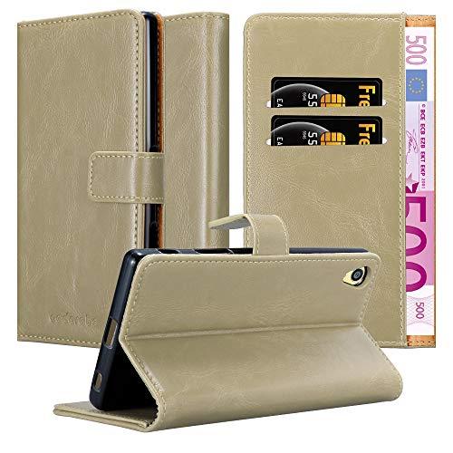 Cadorabo Hülle für Sony Xperia Z5 Premium - Hülle in Cappucino BRAUN – Handyhülle im Luxury Design mit Kartenfach & Standfunktion - Hülle Cover Schutzhülle Etui Tasche Book