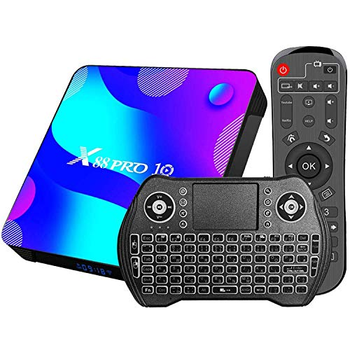 DOOK [2021 Newest] Android 11.0 TV Box, X88 Pro 10 Android Box RK3318 Quad-Core Cortex-A53 CPU with Dual-WiFi 2.4G/5.8GHz Ultra HD 3D 4K HDR BT 4.0 H.265, con Mini Teclado4+64G