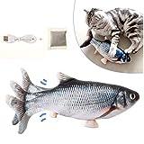 LIUMY Hierba gatera Eléctrica Juguete Pez para Gato,Peluche de juguete eléctrico de simulación Fish Fish con carga USB,Mascotas Interactivo de Felpa Pez para morder, Masticar, patear y Dormir