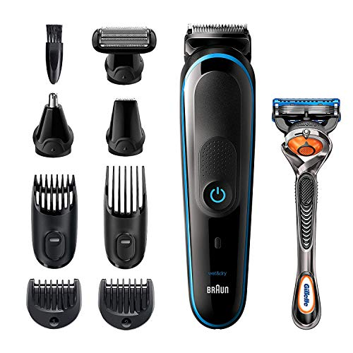 Braun Hair Clippers for Men MGK5280, 9-in-1 Beard Trimmer, Ear and Nose Trimmer, Body Groomer, Cordless and Rechargeable, Plus Gillette ProGlide Razor