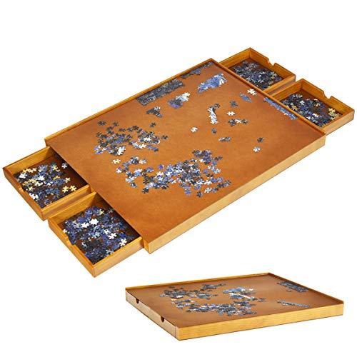 DREAMADE Puzzletisch aus Holz, Puzzleplateau mit Vier Schubladen, Puzzle-Speichersystem mit ebener Arbeitsfläche, Puzzle Unterlage für 1000-1500 Stück, Holzfarbe