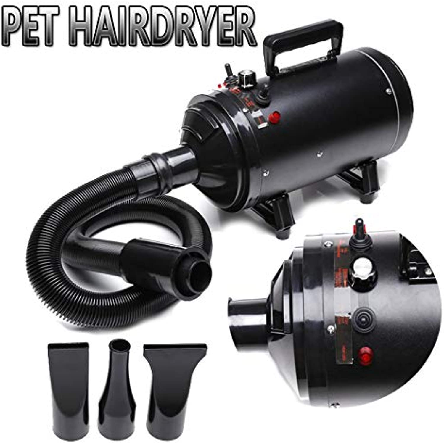 AutoFu Variable Speed Pet Grooming Hairdryer 2800W High Velocity Blaster Fur Blower Stepless Speed Temperature and Flexible Hose for dogs and cats (Black)